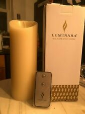 "Luminara Flameless Candle 9"" White Pillar Candles W/ Built In Timer / Remote"