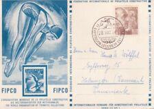 SPAIN 1954 DIVING/SWIMMING/FOOTBALL POSTCARD