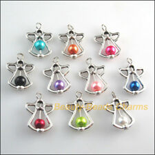 10 New Tibetan Silver Tone Charms Mixed Glass Angel Wings Pendants 16.5x23mm
