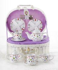 Delton Children's Porcelain Tea Set for 2 in Wicker Basket MULTI-HEART