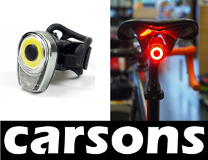 carsons front & rear USB rechargeable bike LED lights - cycling head tail light
