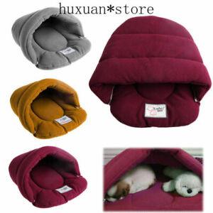 Pet Cat Dog Nest Bed Soft Warm Cave House Sleeping Bag Mat XS-L Puppy Fluff Bed
