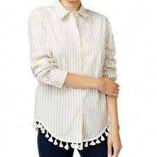 KENSIE NEW Women's Cotton Striped Tasseled Button Down Shirt Top TEDO