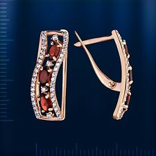 Russische Rose Rotgold 585  Ohrringe mit Granat und CZ. 4.51g Earrings rose gold