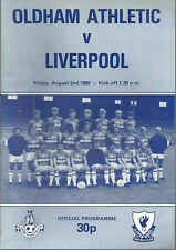 OLDHAM ATHLETIC  V LIVERPOOL F.C  1985/86 PRE SEASON FRIENDLY MATCHDAY PROGRAMME