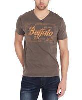 Buffalo David Bitton Mens T-Shirt Gray Size Medium M Graphic Tee V-Neck- #033