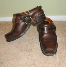 Vtg FRYE Brown Leather Clogs Cowboy HARNESS MULE BOOTS Slip On 8 ~Cool~