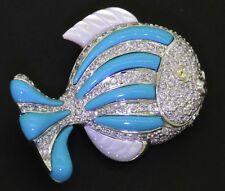 Heavy 18K WG 2.54CTW diamond/Yellow sapphire natural turquoise & MOP fish brooch
