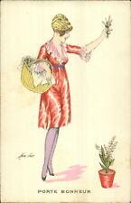 Xavier Sager Beautiful Woman PORTE BONHEUR c1910 Postcard #71