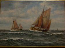 Gemälde Fischkutter auf hoher See sign. J. Fokken 1881-1962 Bremen Öl Hartfaser