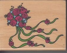 """rose bouquet Canadian maple Wood Mounted Rubber Stamp 1 1/2 x 2"""" Free Shipping"""