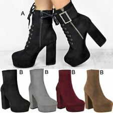 Womens Ladies Platforms Ankle Boots Chunky Block High Heel Shoes Wedge New Size