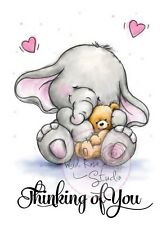 Elephant Bella with Teddy Unmounted Rubber Stamp Wild Rose Studio # CL319 New