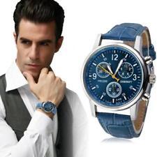 Men Luxury Fashion Wrist Watches Crocodile Faux Leather Analog Watch Blue cheap