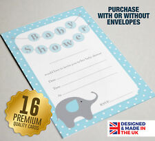 16 BLUE Baby Shower Invitations - A6 Size Guest Cards - Elephant Theme Design