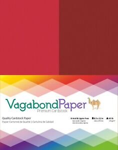 """Premium Quality 8.5"""" x 11"""" RED & MAROON CARDSTOCK PAPER - 20 Sheets"""
