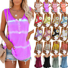 Womens Boho Tie Dye Sleeveless Tank Tops Summer Loose T Shirts Blouse Plus Size