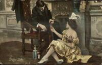 Stage Life Theatre Actress & Actor Pouring Alcohol Drink c1910 Postcard