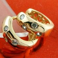 EARRINGS HUGGIE HOOP GENUINE REAL 18K YELLOW G/F GOLD DIAMOND SIMULATED DESIGN