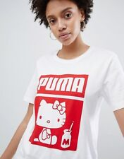 BNWT - PUMA x HELLO KITTY White Crew Neck T-Shirt Top - Size S M - RARE!