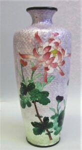 "Very Fine 6"" JAPANESE MEIJI-ERA Cloisonne Vase w/ Floral Design  c. 1880 antique"
