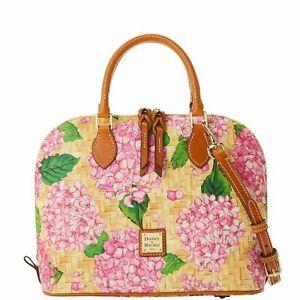NWT Dooney & Bourke Hydrangea Basketweave Zip Zip Satchel Pink MSRP $238
