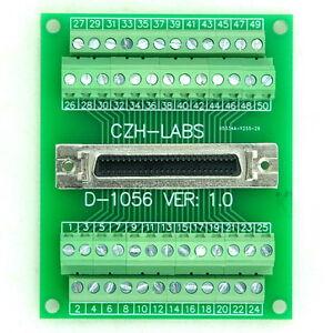 """50-pin 0.05"""" Mini D Ribbon/MDR Female Breakout Board, SCSI, Terminal Module. x1"""