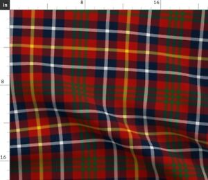 White Green Blue Yellow Plaid Red Navy Spoonflower Fabric by the Yard