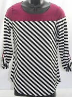 New Directions Womens Small Roll Sleeves Shirt Black & White Striped Plum Top