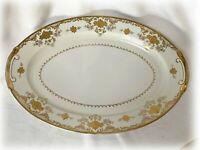 Vtg China SONE Japan Floral Cream Verge White, Gold Trim Large Oval Platter SON1