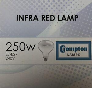 Infra Red 250W ES Crompton / VICTORY Hard Glass clear Screw cap E27 Heat Lamp