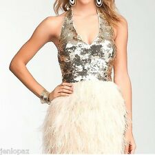 NWT Bebe isis gold beige sequin sparkle halter feather bustier top dress S small