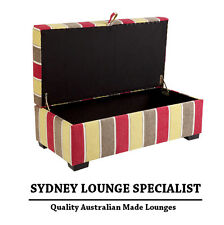 Brand New - AUS MADE Storage Ottoman Box 1200x600 (Stripes) Sofa Lounge Couch