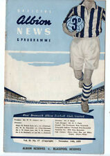 West Bromwich Albion Reserves v Blackpool Reserves 14/11/1959