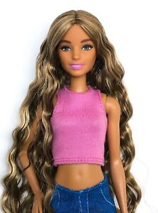 BARBIE HYBRID MADE TO MOVE DOLL HEAD/FASHIONISTAS BODY + SARAN REROOTED HAIR