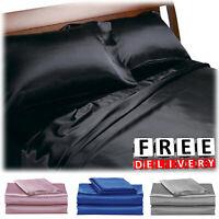 Satin Sheet Set Soft Silky Twin Full Queen King Bedding Solid Deep Pocket