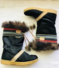 $400 TECNICA  Fur Boots After Ski  ITALY EU 36 Tall US 5.5 Black