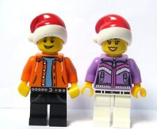 LEGO 2 Minifigure Figure Boy Girl Male Female Xmas Christmas Santa Hat Advent