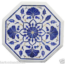 """12"""" Marble Coffee Center Side Table Top Rare Lapis Stone Inlay Mosaic Work H2326"""