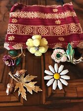 Lot Flower Brooches 4 Spille + 1 Ring Anello Fiore Vintage