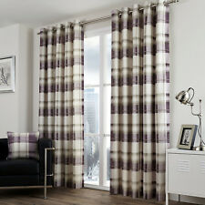 Fusion Balmoral Check 100 Cotton Eyelet Lined Curtains Plum 90 X 90 Inch