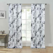 Gray, White, Black  Set of 2 Pc  Window Curtain Drapes  Floral, Pole Top, 84L