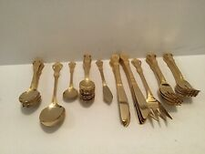 Gold Colored Brilliant 52 Piece Flatware Cutlery Set With Wooden Case