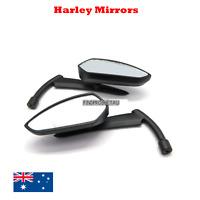 Black billet Mirrors Harley Dyna Softail Electra Glide Yamaha Kawasaki Bobber