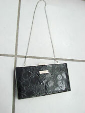 MICHE Hard Wallet Purse with Silver Chain shiny with circular like designs
