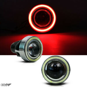 "(2) Xenon LED 3.15"" Projector Fog Light Lamps w/Devil Red Halo Angel Eyes Rings"