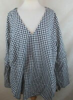 Ava Viv Womens Plus Size 1X Peasant Top Shirt Blouse Gingham Bow Tie Bell Sleeve