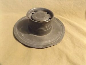 """Primitive Antique 19th C ~2x7"""" Pewter Inkwell for 5 Quills Missing Glass Insert"""