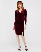 Monsoon Elle Red Berry Velvet Ruched Evening Pencil Midi Dress Size 16 £70