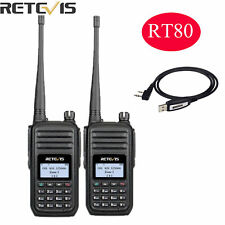 2XRetevis RT80 DMR  999CH VOX FM DTMF Screen scan Alarm 2-Way Radios+USB Cable